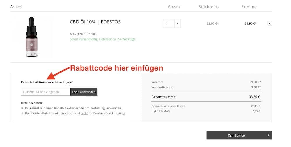 Edestos Rabattcode und Gutschein einösen