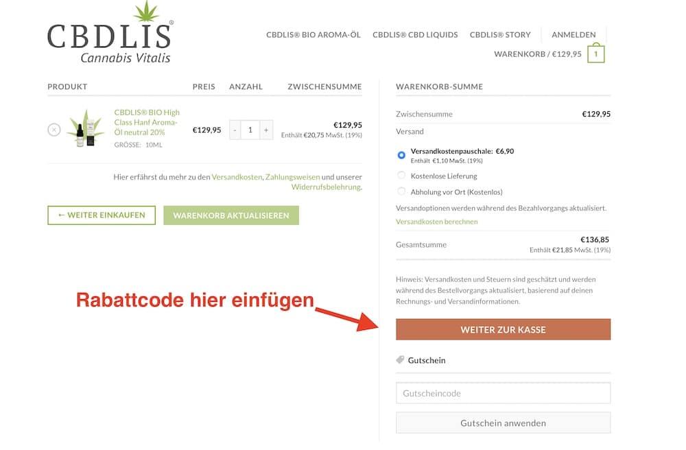CBDLIS Rabattcode und Gutschein einlösen