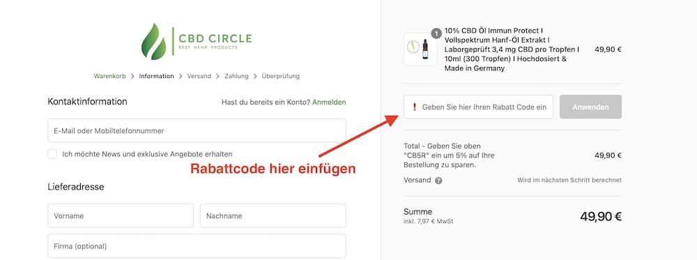 CBD Circle Rabattcode und Gutschein einlösen